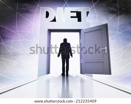 person going to hold diet at magic doorway background illustration