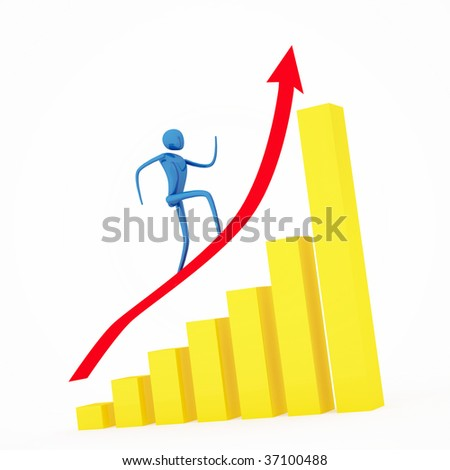Person going up on a rising red arrow - stock photo