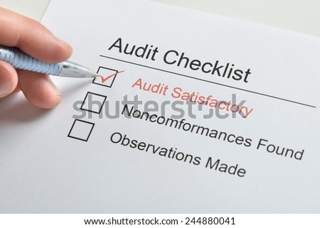 Person Hand Make Tick On Audit Satisfactory In Audit Checklist Paper - stock photo