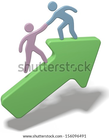 Person helping friend step up to join him on arrow to success - stock photo