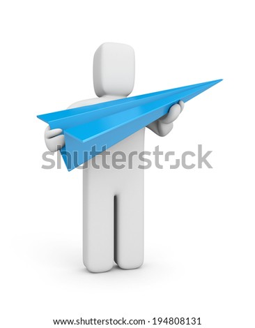 Person hold blue paper plane - stock photo
