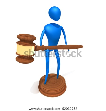 Person hold Gavel - stock photo