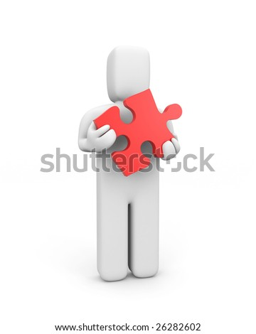 Person hold puzzle. Business concept, isolated on white