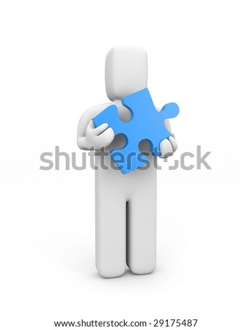 Person hold puzzle. Business concept, isolated on white - stock photo