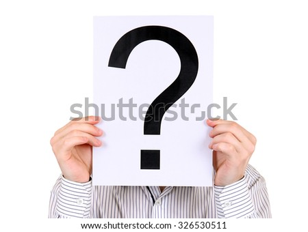Person hold the Paper with a Question Mark on the White Background