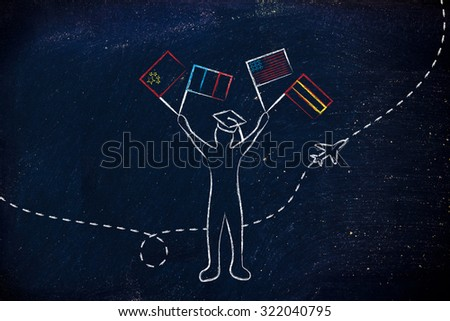 person holding flags and airplane flying in the background, concept of studying foreign languages - stock photo