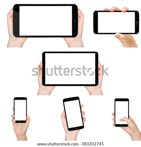 Person holding modern blank mobile phone in his hand