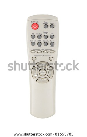 person holding the remote control isolated on a white background - stock photo