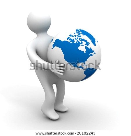 person holds a globe. 3D image. Isolated illustrations - stock photo