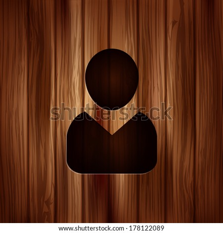Person icon.. Wooden background. - stock photo