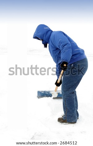 Person in a Blue Coat shoveling Snow, (Face not shown)