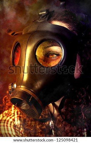 person in a gas mask looking for accident - stock photo