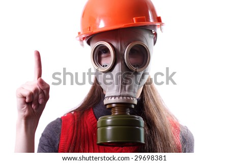 person in a gas mask on a white background
