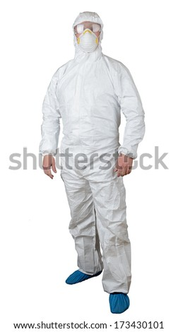 person in a protective suit isolated on white - stock photo