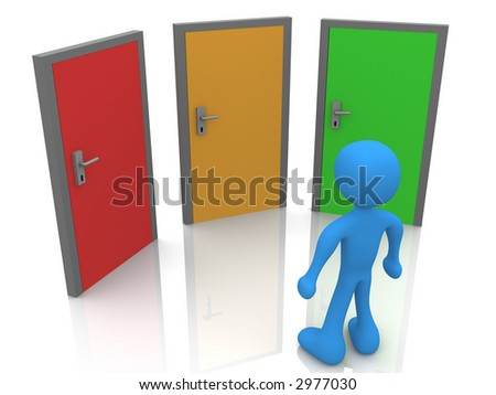 Person In Front Of Three Doors - stock photo