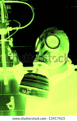 Person in gas mask - stock photo
