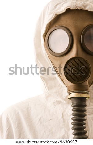 Person in gas mask on white background - stock photo