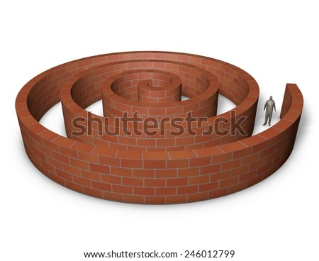 Person inside a maze made of bricks. 3d abstract illustration isolated on white. - stock photo