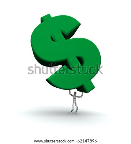 Person lifting green dollar symbol.