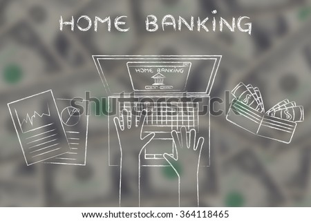 person loggin into his bank account online, with wallet and stats on blurred dollar background - stock photo