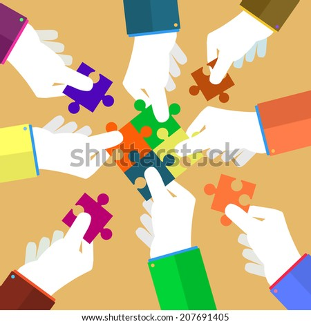 Person making a puzzle. A hand puts proper puzzle. Businessman assembling jigsaw puzzle. Business concept. Raster version of vector - stock photo