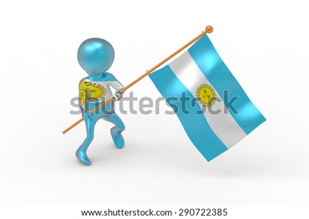 Person, national flag, Argentina - stock photo
