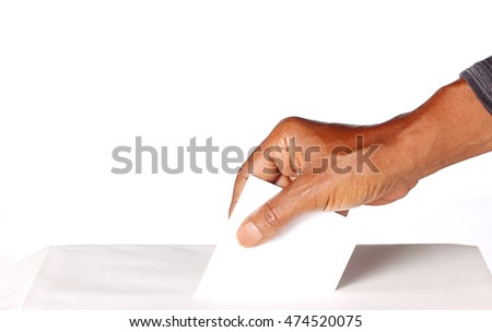 Person of color voting, suitable for American or other election on white background, with lots of copy space