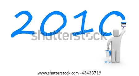 Person paint the text 2010 - stock photo
