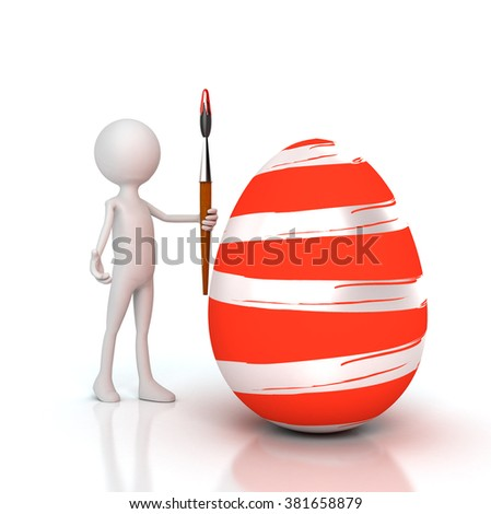 Person painting Easter egg with brush - stock photo