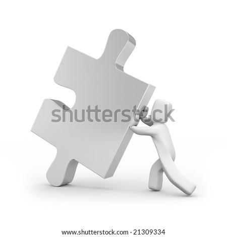 Person push puzzle - stock photo