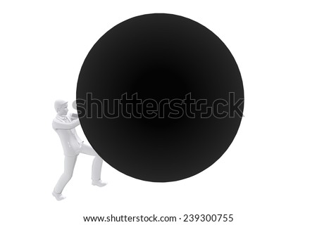 Person pushing big ball up - stock photo