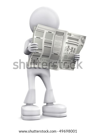 Person read newspaper. 3d image isolated on white background. - stock photo