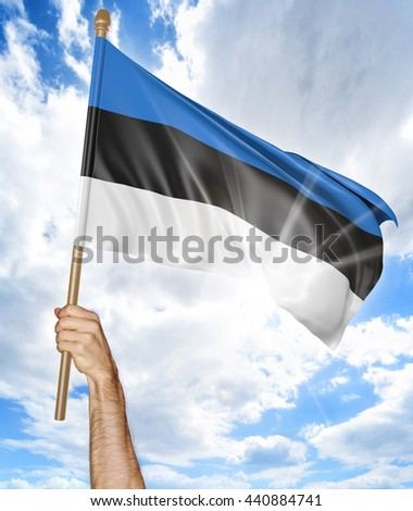 Person's hand holding the Estonian national flag and waving it in the sky, 3D rendering - stock photo