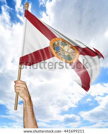 Person's hand holding the Florida state flag and waving it in the sky, 3D rendering - stock photo