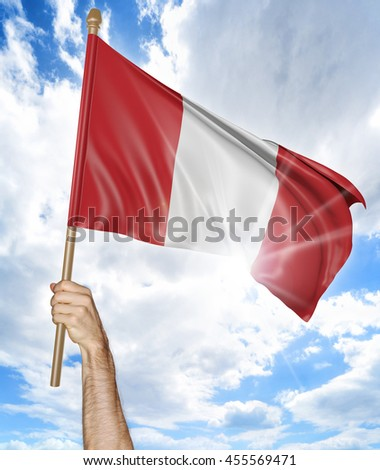 Person's hand holding the Peruvian national flag and waving it in the sky, 3D rendering - stock photo