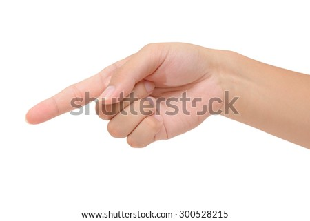 Person 's right hand pointing or pressing
