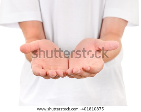Person shows his Palms closeup On The White Background - stock photo