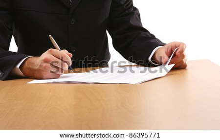 Person signing  important document isolated