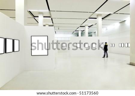 Person silhouette in the museum interior - stock photo