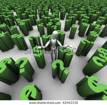 Person standing in a sea of green question marks and $ dollar symbols