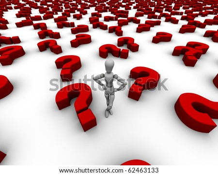 Person standing in a sea of red question marks