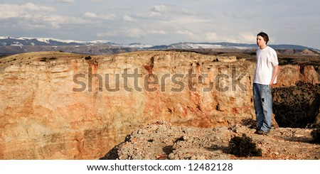 person standing on the edge of a canyon with a 1,000 foot drop. Cropped 2:1 - stock photo
