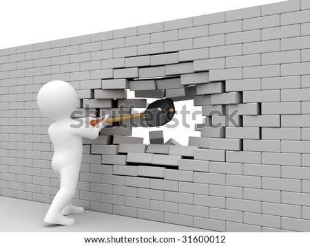 Person strike brick wall by sledgehammer. - stock photo