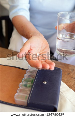 Person taking medication - stock photo