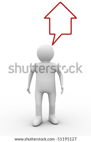person thinks of house. Isolated 3D image - stock photo