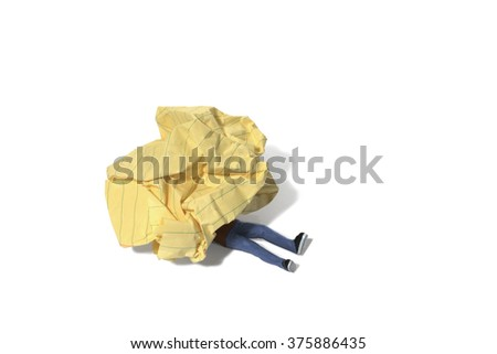 Person Trapped Under Crumpled Paper - stock photo