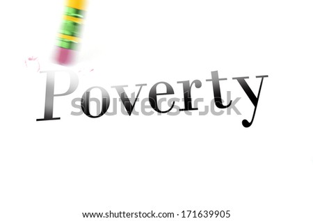 Person using a pencil eraser to erase Poverty from their life so they can start new - stock photo