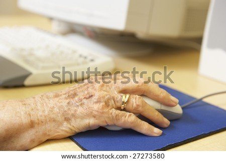 Person using computer - stock photo