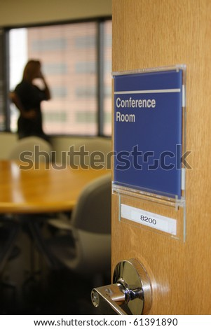 person using conference room in an office - stock photo