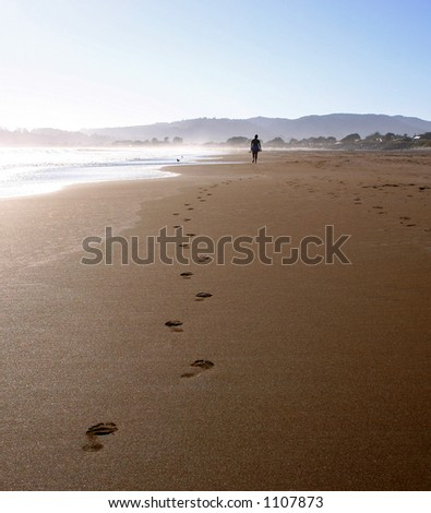 Person walking on beach